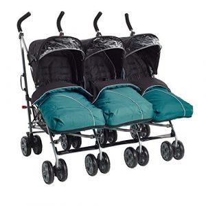 Kids Kargo Triple Poussette Y Compris avant pivotantes Triplets à partir de la naissance