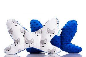 BAJBI® | Papillon Anti Shake tête de bébé soutien / oreiller / Cale Tête | Coton / Minky | Anti-allergique | Fabriqué en UE | Beaucoup de couleurs et de motifs