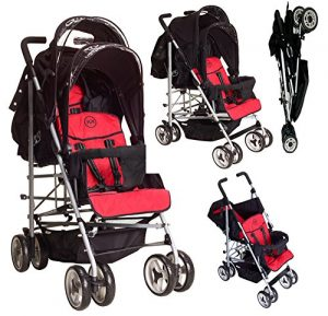 DUO Double buggy Twin Tandem Pushchair stroller 2 seat units, fully reclining lie back at the rear for newborn, front fixed seat from 6 months. Complete with rain cover. Silver Chassis Black/BERRY by Kidz Kargo