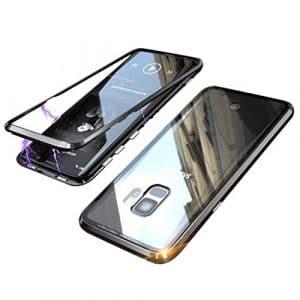 Coque Samsung Galaxy S9 Plus, Technologie d'adsorption Magnétique Forte, Coollee Ultra Fin Métal Bumper Frame Coque Arrière en Verre Trempé Etui Housse pour Samsung Galaxy Note S9 + [Support Sans Fil de Charge], Noir