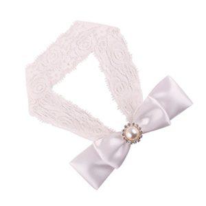 Tyoner Bandeau élastique pour cheveux pour fille avec nœud en cristal et dentelle