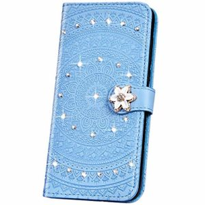 JAWSEU Compatible avec Samsung Galaxy S10 Coque Pochette Portefeuille Housse Etui à Rabat Cuir Mandala Fleur Glitter Brillante Strass Stand Magnétique Flip Wallet Case,Bleu
