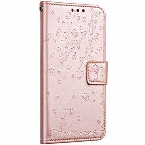 Saceebe Compatible avec Huawei Honor 20 Coque Cuir Portefeuille Livre Étui à Rabat Housse 3D Fleurs de Cerisier Chat Motif Flip Case Carte de Crédit Magnétique Antichoc Cover,Or Rose