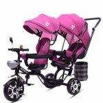 AWSD Double Tricycle Jumeaux pour Enfants de Chariot de siège jumeau Poussette siège pivotant inclinable (Pink)
