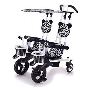 CHEERALL Poussette jumelle pour bébé à 2 sièges léger à Double Tricycle pour Enfants avec auvent Amovible , Sûr et Confortable pour Les Enfants de 6 Mois à 4 Ans