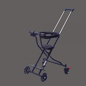 DFSSD Lumière Landau bébé Enfants Chariot à Quatre Roues, Simple légère Pliant, Poussette Pedal bébé Portable Convient pour 3-7-Year-Old,Noir