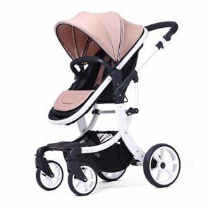 Enfants Landau pliable Poussette, cadre en alliage d'aluminium, grand espace confortable, siège réglable à 100 ° -180 °, bébé peut rester assis ou allongé, 0-3 ans, 8 couleurs 1bicycle Cadeau Pink
