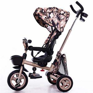 HBSC 4 en 1 Tricycle Enfants, Siège réglable et pivotant, bébé Peut s'asseoir ou s'allonger à Plat, Dossier réglable à 135 °, Convient pour 10 Mois à 6 Ans 1bicycle Cadeau Brown