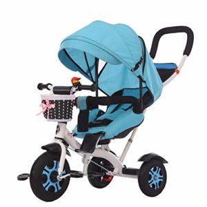 HBSC Tricycles pour Enfants 4 en 1 Le bébé Peut s'asseoir ou Se Coucher à Plat, Auvent surdimensionné et Dossier réglable Confortable, Convient au Shopping et aux Voyages 1bicycle Cadeau Blue