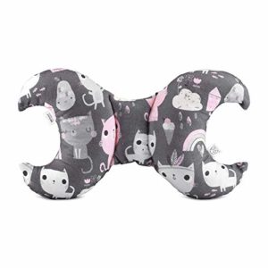 Maylily Coussin anti-secousses pour tête de bébé Motif chatons roses