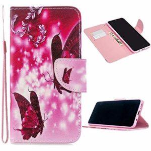 Miagon Full Body Coque Case pour Huawei P Smart 2019,Coloré Motif Pu Cuir Portefeuille Flip Etui Portable Silicone Interne Antichoc Housse de Protection,Rouge Papillon