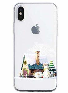 Oihxse Case Compatible Para OnePlus 7 Pro, Etui en Silicone Souple Ultra Mince Transparente Crystal Coque Motif de Mignon Noël Christmas Snowflake Protection Housse