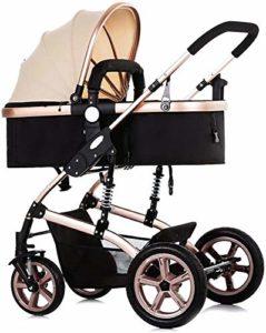 Poussette bébé Système de voyage, pliable pour bébé Poussette Poussette avec Pare soleil, quatre Roue réglable bébé Landau Baby Jogger avec anti-explosion de roue arrière