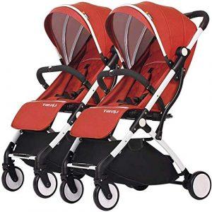 Poussettes Double Chariot Double Poussette Détachable Enfant Pliable Portable Transport En Alliage D'Aluminium Blanc Chariot Cadre Bébé Produits