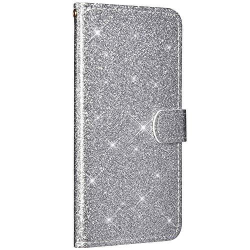 Saceebe Compatible avec Huawei Honor 7C Housse Cuir Portefeuille Coque Paillette Strass Brillante Bling Etui Rabat Flip Case Fentes Cartes Magnétique Support avec Dragonne,Argent
