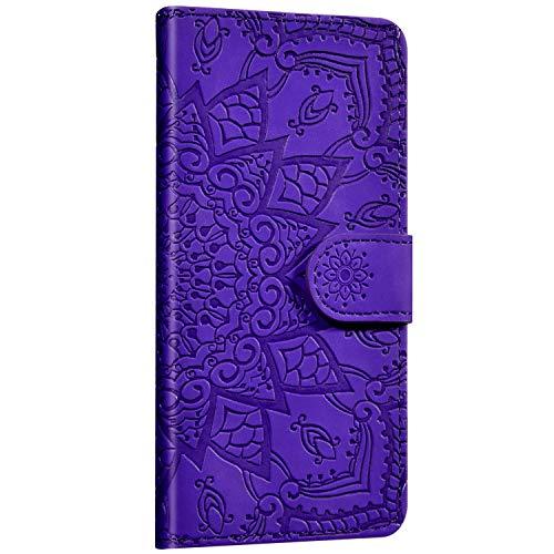 Saceebe Compatible avec Samsung Galaxy Note 10 Plus Coque Cuir Étui Wallet Housse Fleur Mandala Motif Portefeuille Housse Rabat Flip Case Fermeture Magnétique Porte-Carte Support Anti-Choc Cover,Bleu