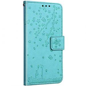 Saceebe Compatible avec Samsung Galaxy S7 Edge Coque Cuir Portefeuille Livre Étui à Rabat Housse 3D Fleurs de Cerisier Chat Motif Flip Case Carte de Crédit Magnétique Antichoc Cover,Vert