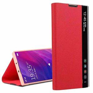 Suhctup Flip Cuir Coque Compatible pour Samsung Galaxy M30/A40S,Portefeuille Etui Housse avec [Support] [Fenêtre Latérale Visible Intelligente] Ultra Fina Bumper Case pour Galaxy M30/A40S,Rouge
