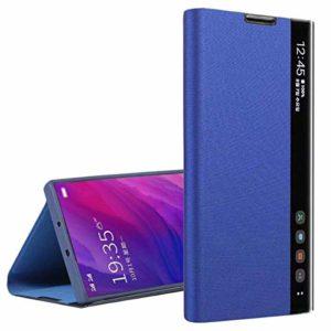 Suhctup Flip Cuir Coque Compatible pour Samsung Galaxy S11,Portefeuille Etui Housse avec [Support] [Fenêtre Latérale Visible Intelligente] Ultra Fina Bumper Case pour Galaxy S11,Bleu