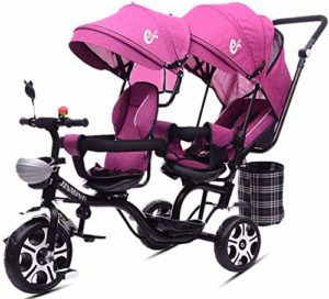 SYXL Poussette Double Enfants Jumeaux Chariot Tricycle à Deux Places inclinables siège pivotant 1-7 Ans Landau,Pink