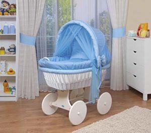 WALDIN Landau/berceau bébé complet,44 modèles disponibles,Cadre/Roues blanc laqué,couleur du tissu bleu/carreaux