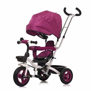 HBSC Tricycle 4 en 1 pour Enfants avec siège pivotant à 360 ° dans Le Dossier, Cadre Repliable et Tige de poussée Amovible, Convient pour bébé de 6 Mois à 5 Ans 1bicycle Cadeau Pink2