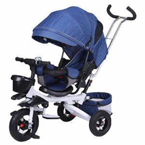 HBSC Tricycle 4 en 1 pour Enfants, Siège réglable Confortable, bébé Peut Rester Assis ou allongé, Convient pour 6 Mois à 6 Ans 1bicycle Cadeau Blue1