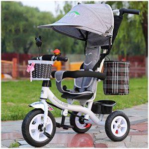 HBSC Tricycles pour Enfants ou Bébé, La Tige de poussée Peut être ajustée et démontée, Auvent prolongé et siège Confortable, Élégant et Pratique, 1-6 Ans 1bicycle Cadeau Grey