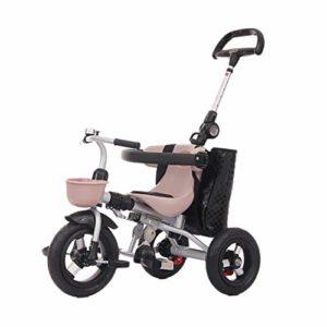 SONG Tricycle bébé évolutif Enfant Tricycle Légère Landau Poussette Pratique avec Une Clôture De Sécurité De La Pédale De Frein Système Voiture Jouet (Color : Pink)