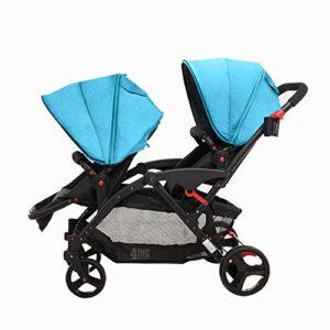MYRCLMY Double Poussette Jumeaux Poussette bébé, Peut s'asseoir et détachable, poignée de poussée de Dossier Pliable Portable Ultra-léger,Bleu