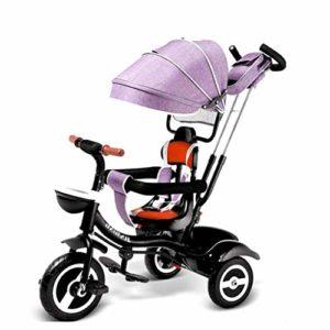 4-en-1 bébé Tricycle avec poignée réglable Poussoir, Amovible Auvent, Pliante ABS Pédales, Sac de Rangement, Une éponge Filière, amortissante Roues, Tricycle for Personnes âgées 1-6 Ans (Color : G)