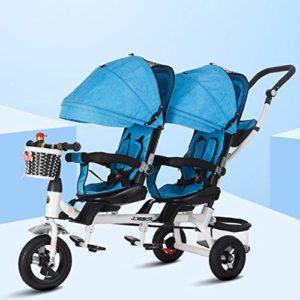 Bospyaf Tricycle Poussette Double, 6 Mois À 7 Ans Poussette Double Tricycle Enfants Jumeaux, Siège Avant Amovible, Rotatif (Version De, Bleu