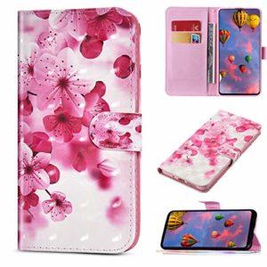 Compatible avec Huawei P Smart Z Étui en Cuir Coque Pochette Portefeuille Housse Brillant Bling Glitter Coloré Coque avec Support Stand Rabat Magnétique Porte-Cartes,Fleurs Cerisier Rose