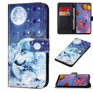 Compatible avec Huawei Y5 2019 Housse en Cuir Portefeuille Etui Brillant Bling 3D Flip Case Pochette Étui avec Fonction Stand et Fentes de Carte de Crédit,Bleu Loup