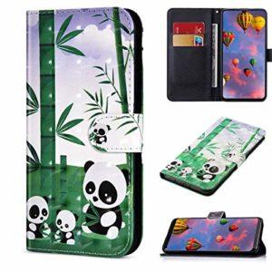 Compatible avec Samsung Galaxy Note 10 Lite Housse en Cuir Portefeuille Etui Brillant Bling 3D Flip Case Pochette Étui avec Fonction Stand et Fentes de Carte de Crédit,Panda Bambou
