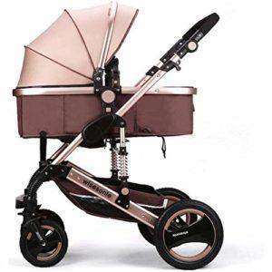 GAO Poussettes Poussette pour Poussettes pour Bébés Et Tout-Petits Chariot Convertible Pliable pour Bébé Anti-Choc avec Porte-gobelet Chariot pour Nouveau-né,Brown