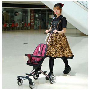 JKNMRL Chariots pour Enfants, Chariots pliants avec Housse en Tissu tricoté Amovible et Lavable et Ceinture à Pression à 3 Points, Rouge