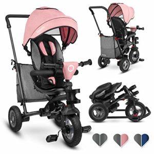 Lionelo Tris Tricycle et Poussette pour Enfants 2 en 1 Siège pivotant réglable et Compact à 180 avec Sac spacieux à Roue Libre et Porte-gobelet de 1 à 5 Ans jusqu'à 25 kg, Rose