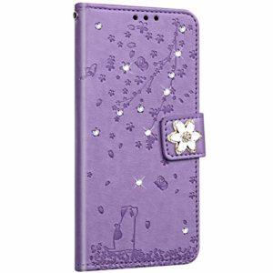 NSSTAR Compatible avec Samsung Galaxy S20 Ultra Coque Cuir Etui Pochette Portefeuille Housse Brillante Glitter Fleur de cerisier Chat Fleur Motif Flip Case Rabat Magnétique Porte-Cartes,Violet