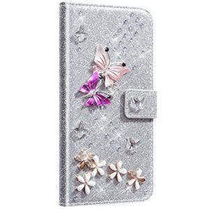NSSTAR Compatible avec Samsung Galaxy S20 Ultra Coque Cuir Portefeuille Housse Glitter Brillante Diamant Papillon Fleur Motif Flip Case Wallet Coque Rabat Support Stand Housse Magnetique,Argent