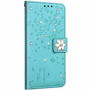 NSSTAR Compatible avec Samsung Galaxy S20 Ultra Coque Pochette Portefeuille Housse Cuir Glitter Diamant Fleur de cerisier Chat Coque Flip Case Support Stand Housse Magnétique Étui à Rabat,Vert