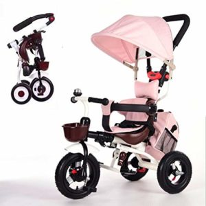 Poussette tricycle 4 en 1 Baby pour enfants Folding Trike Harnais de sécurité 5 points Folding Toit pare-soleil réglable Guidon pour enfant 1 à 5 ans f