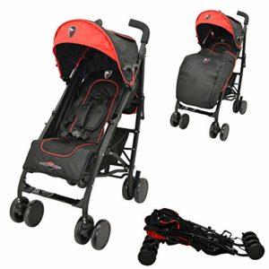 Poussette légère et compacte – poussette bébé maniable, facile à plier – Racing (rouge)