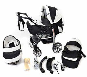 Baby Sportive – Landau pour bébé avec roues pivotables + Siège Auto – Poussette – Système 3en1, incluant sac à langer et protection pluie et moustique – Noir et Blanc