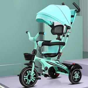 DONGLU Poussette Tricycle Extérieure for Enfants Poussette Bébé Rotating Siège Vélo Auvent Vélos Grand Panier De Stockage 8 Mois-6 Ans (Couleur : Vert)