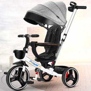 DONGLU Poussette Tricycle for Enfants Antidéflagrant Vélo Télescopique Pousser La Poignée 1-3-6 Ans Pliant Extérieur Poussette Voyage Bébé PU Vélos (Couleur : Gris)