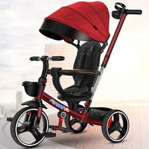 DONGLU Poussette Tricycle for Enfants Antidéflagrant Vélo Télescopique Pousser La Poignée 1-3-6 Ans Pliant Extérieur Poussette Voyage Bébé PU Vélos (Couleur : Rouge)