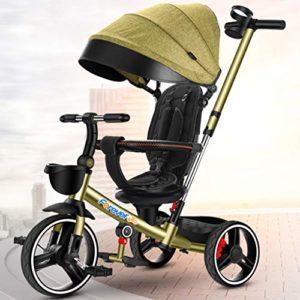 DONGLU Poussette Tricycle for Enfants Antidéflagrant Vélo Télescopique Pousser La Poignée 1-3-6 Ans Pliant Extérieur Poussette Voyage Bébé PU Vélos (Couleur : Vert)