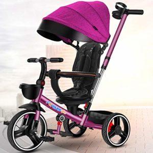 DONGLU Poussette Tricycle for Enfants Antidéflagrant Vélo Télescopique Pousser La Poignée 1-3-6 Ans Pliant Extérieur Poussette Voyage Bébé PU Vélos (Couleur : Violet)