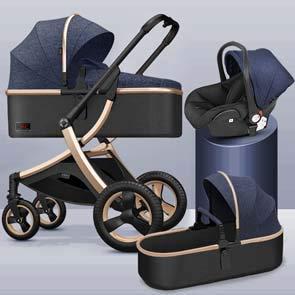 GYPPG Système de Voyage, Poussette avec siège d'auto pour bébé Embrace, Poussette pour Landau, Pliable, Bleu + Or